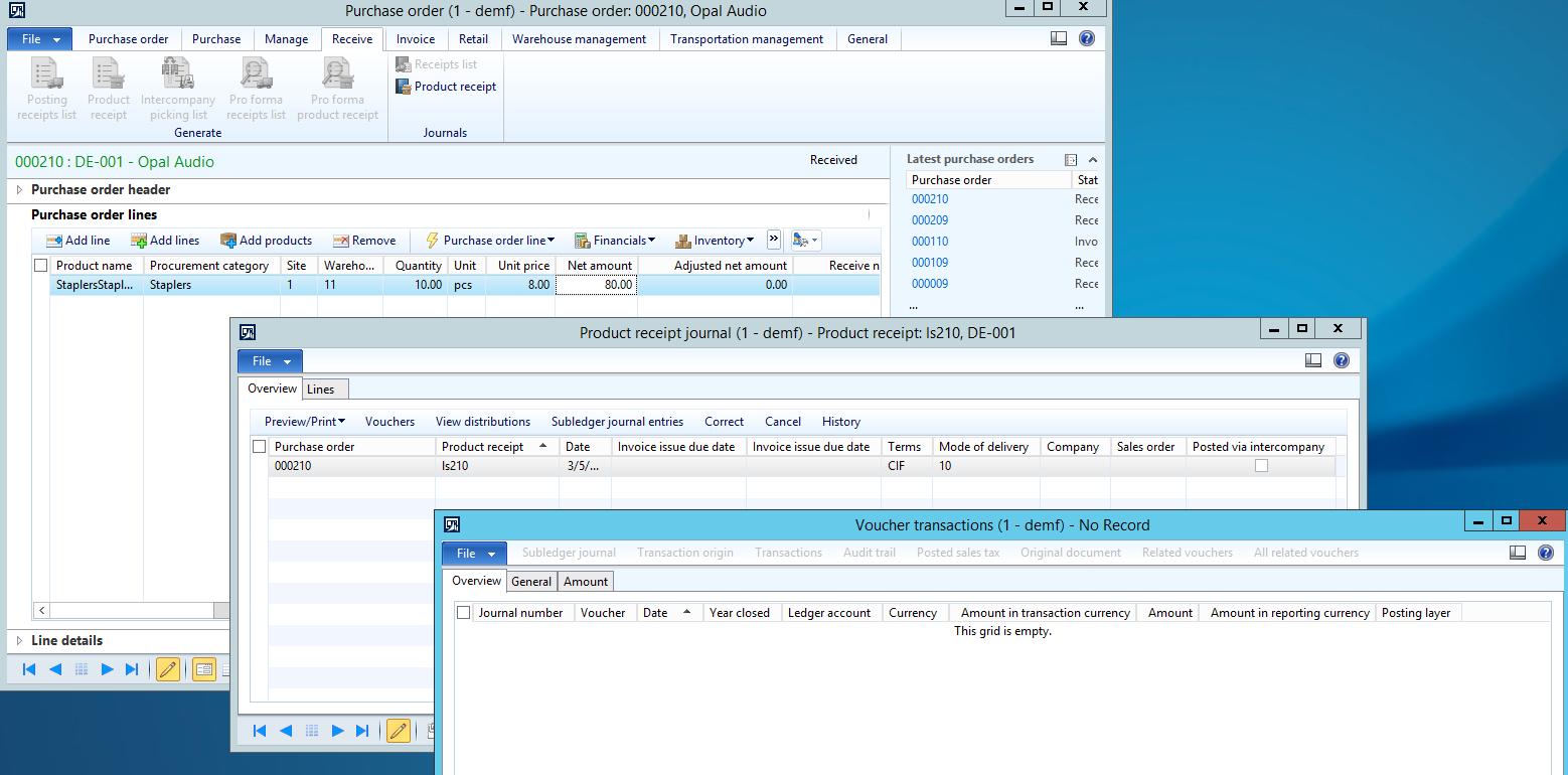 Post product receipt in ledger for procurement categories – Receipt Ledger
