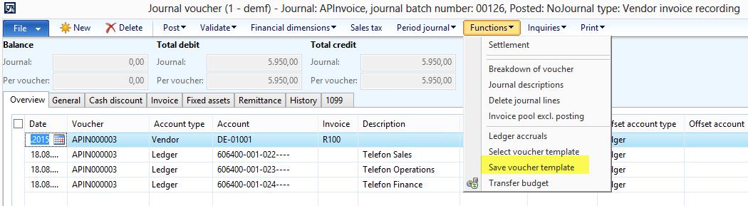 Voucher templates | Dynamics 365FO/AX Finance & Controlling