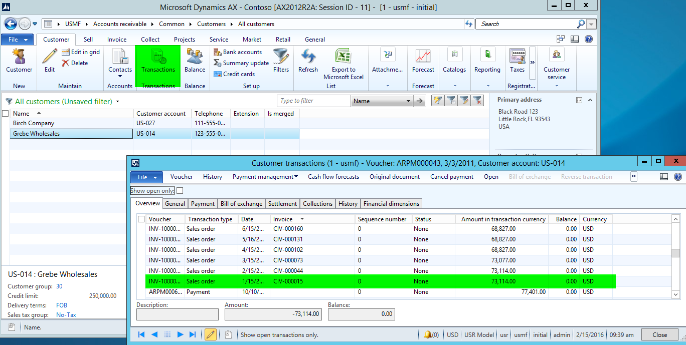 Invoice Search AX Vs AX Part Finance And Operations - Open invoice customer service