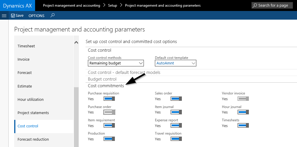 project costs | Dynamics 365FO/AX Finance & Controlling