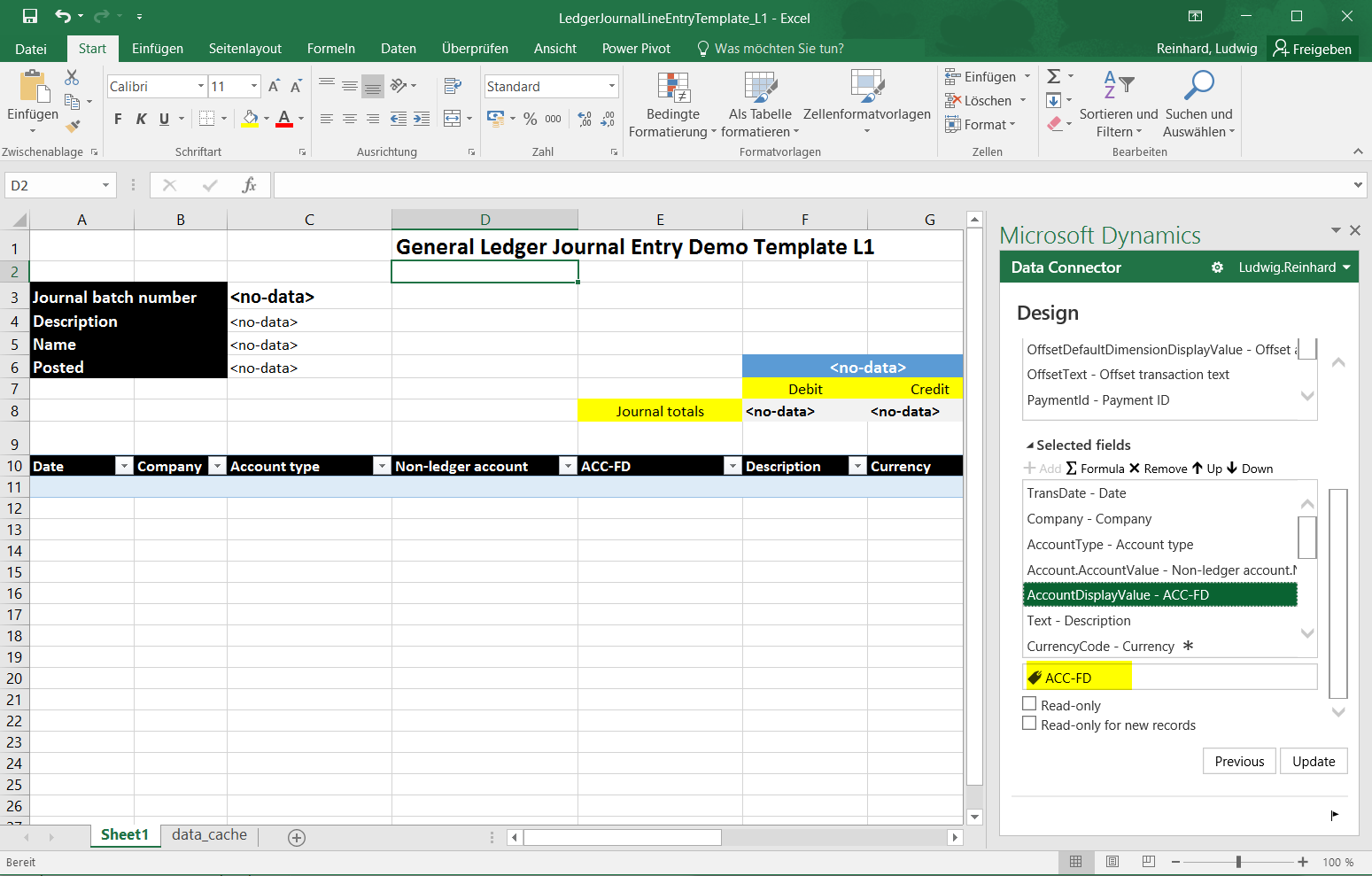 Excel Journal Entry Template