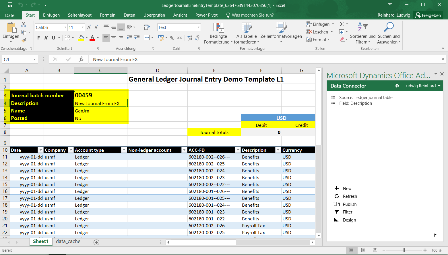 how to create a general journal in excel